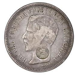"Costa Rica, 2 reales, ""lion"" countermark (Type VI, 1849-57) on a Guatemala 2 reales 1861R, unique(?)"