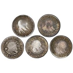 "Lot of five Costa Rica 1/2R ""lion"" countermarks (Type VI, 1849-57) on Central American Republic 1/2R"