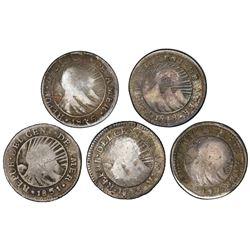 "Lot of five Costa Rica 1/2R ""lion"" countermarks (Type VI, 1849-57) on Central American Republic 1/2R"