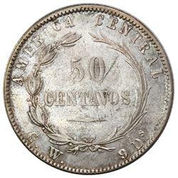 Costa Rica, 50 centavos, 1887GW, CB inside bow, rare, PCGS XF45.