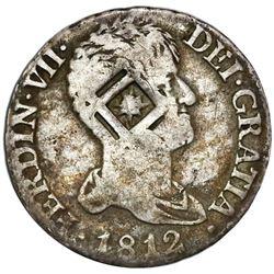 Cuba (Trinidad / Santiago / Principe), 2 reales, star-in-lattice countermark (1841) on bust of Madri
