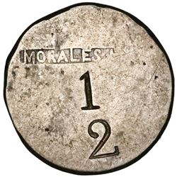 Cuba (Mayari), silver 1/2-real(?) token with MORALES Ho in box above 1 over 2 denomination, made fro