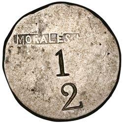 Cuba (Mayari), silver 1/2-real(?) token with MORALES Ho in box above 1 over 2 denomination, made fro