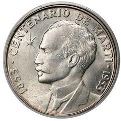 Cuba, 1 peso, 1953, Marti centennial, PCGS MS64.
