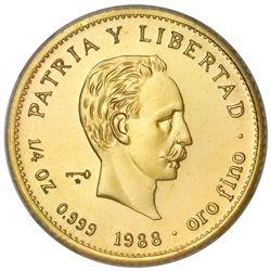 Cuba, gold piefort 25 pesos, 1988, Marti, very rare, NGC MS 68, ex-Rudman.