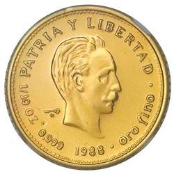 Cuba, gold piefort 10 pesos, 1988, Marti, very rare, NGC MS 68, ex-Rudman.