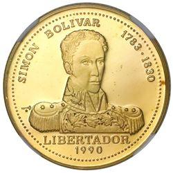 Cuba, gold proof 50 pesos, 1990, Bolivar, NGC PF 68 Ultra Cameo, ex-Rudman.