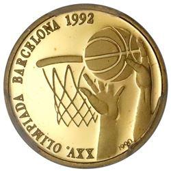 Cuba, gold proof 10 pesos, 1990, XXV Summer Olympic Games, Barcelona 1992 - Basketball, PCGS PR67DCA