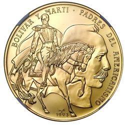 "Cuba, gold 200 pesos, 1993, Bolivar and Marti, NGC MS 70 (""top pop""), ex-Rudman."