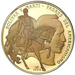 Cuba, gold proof 100 pesos, 1993, Bolivar and Marti, without outlined horse, NGC PF 69 Ultra Cameo (