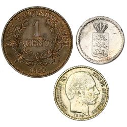 Lot of three Danish West Indies coins: 2 skilling, 1837 (flat-top 3); 5 cents, 1879; bronze 1 cent,