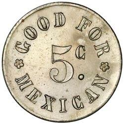 Danish West Indies, copper-nickel 5 centavos Mexicanos token, no date (ca. 1880), G. Peirano et Co.,