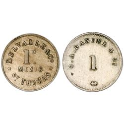 Lot of two Danish West Indies copper-nickel 1 centavo Mexicano tokens, no date (1880s): C.A. Daniel