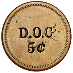 Danish West Indies, small uniface brass 5 cents token, D.O.C., ca. 1890, very rare, ex-Byrne, Higgie