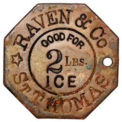 St. Thomas, Danish West Indies, octagonal uniface brass 2 lb ice token, Raven & Co. (ca. 1915-30), r