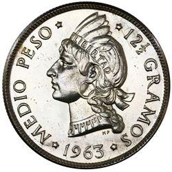 Dominican Republic, specimen 1/2 peso, 1963, Restoration of the Republic, NGC SP 64.