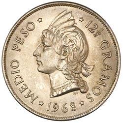 """Dominican Republic, copper-nickel 1/2 peso, 1968, NGC MS 67, """"top pop."""""""