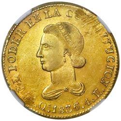 Quito, Ecuador, gold 4 escudos, 1836FP, NGC MS 61.