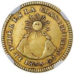 Quito, Ecuador, 1 escudo, 1833GJ, NGC VF 35.
