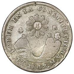 Quito, Ecuador, 4 reales, 1842MV, NGC F 12.