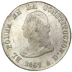 Quito, Ecuador, 4 reales, 1857GJ, NGC F 12.