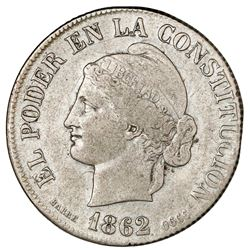 Quito, Ecuador, 4 reales, 1862, Barre bust, NGC VF details / cleaned.