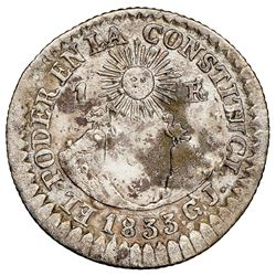 Quito, Ecuador, 1 real, 1833GJ, NGC XF details / corrosion, whizzed.