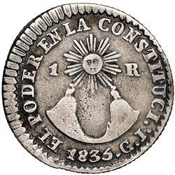 Quito, Ecuador, 1 real, 1835GJ, NGC VF details / cleaned.