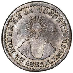 Quito, Ecuador, 1 real, 1836GJ.