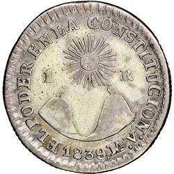 Quito, Ecuador, 1 real, 1839MV, NGC XF 45.