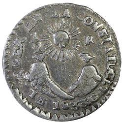 Quito, Ecuador, 1/2 real, 1833GJ, denomination 1/2-R, very rare, PCGS VF25.