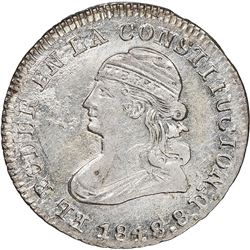 Quito, Ecuador, 1/2 real, 1848GJ, NGC MS 62.