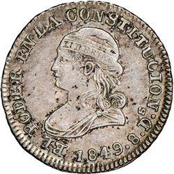 Quito, Ecuador, 1/2 real, 1849GJ, NGC AU 55.