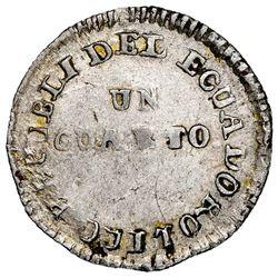 Quito, Ecuador, 1/4 real, 1843MV-A, rare, NGC AU 50.