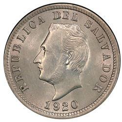 El Salvador, copper-nickel 5 centavos, 1920, PCGS MS63, top grade known.