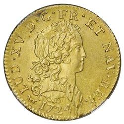 France (Paris mint), gold double Louis d'or, Louis XV, 1724-A, NGC UNC details / saltwater damage.
