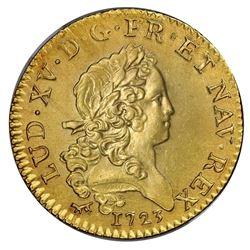 France (Paris mint), gold Louis d'or, Louis XV, 1723-A, palm-branch type, NGC UNC details / saltwate