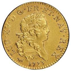France (Paris mint), gold Louis d'or, Louis XV, 1723-A, palm-branch type, NGC AU details / saltwater