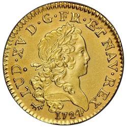 France (Paris mint), gold Louis d'or, Louis XV, 1724-A, NGC UNC details / saltwater damage.