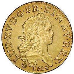 France (Lyon mint), gold Louis d'or, Louis XV, 1724-D, NGC UNC details / saltwater damage.