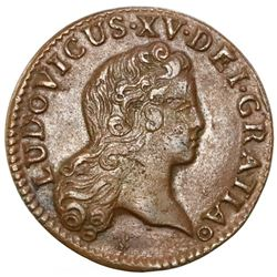 France (Bordeaux mint), copper 1/2 sol, Louis XV, 1722-K, NGC AU 50 BN, finest and only example in N