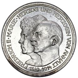 Anhalt-Dessau (German States), 5 mark, 1914-A, Friedrich II & Marie wedding anniversary, NGC MS 61.
