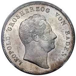 Baden (German States), 2 thaler / 3-1/2 gulden, Leopold I, 1852, very rare, MS 67, finest known in b
