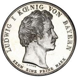 Bavaria (German States), taler, 1827, Ludwig I, Bavaria-Wurttemberg customs union, NGC MS 66 PL, fin