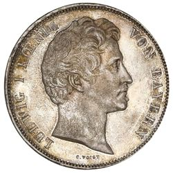 Bavaria (German States), 2 taler, 1838, Ludwig I, Reapportionment, NGC AU 58.