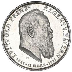Bavaria (German States), proof 5 mark, 1911-D, Luitpold, 90th anniversary of Luitpold's birth, NGC P
