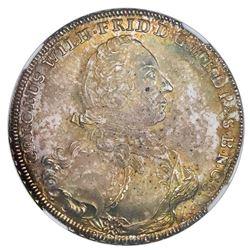 Brandenburg-Ansbach (German States), 2/3 thaler, Karl Wilhelm Friedrich, 1753G, date in exergue, NGC