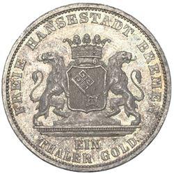 Bremen (German States), taler, 1871-B, Franco-Prussian War victory, NGC MS 64.