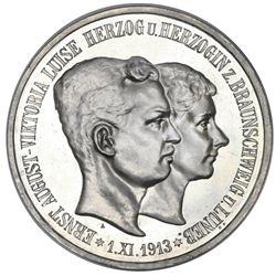 Brunswick (German States), proof 5 mark, 1915-A, Ernst August, wedding of Ernst August and Viktoria