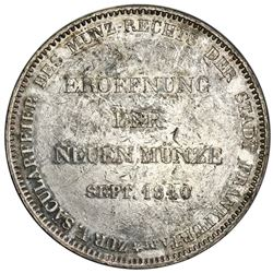 Frankfurt am Main (German States), 2 taler / 3-1/2 gulden, 1840, opening of the new mint, NGC XF 45.
